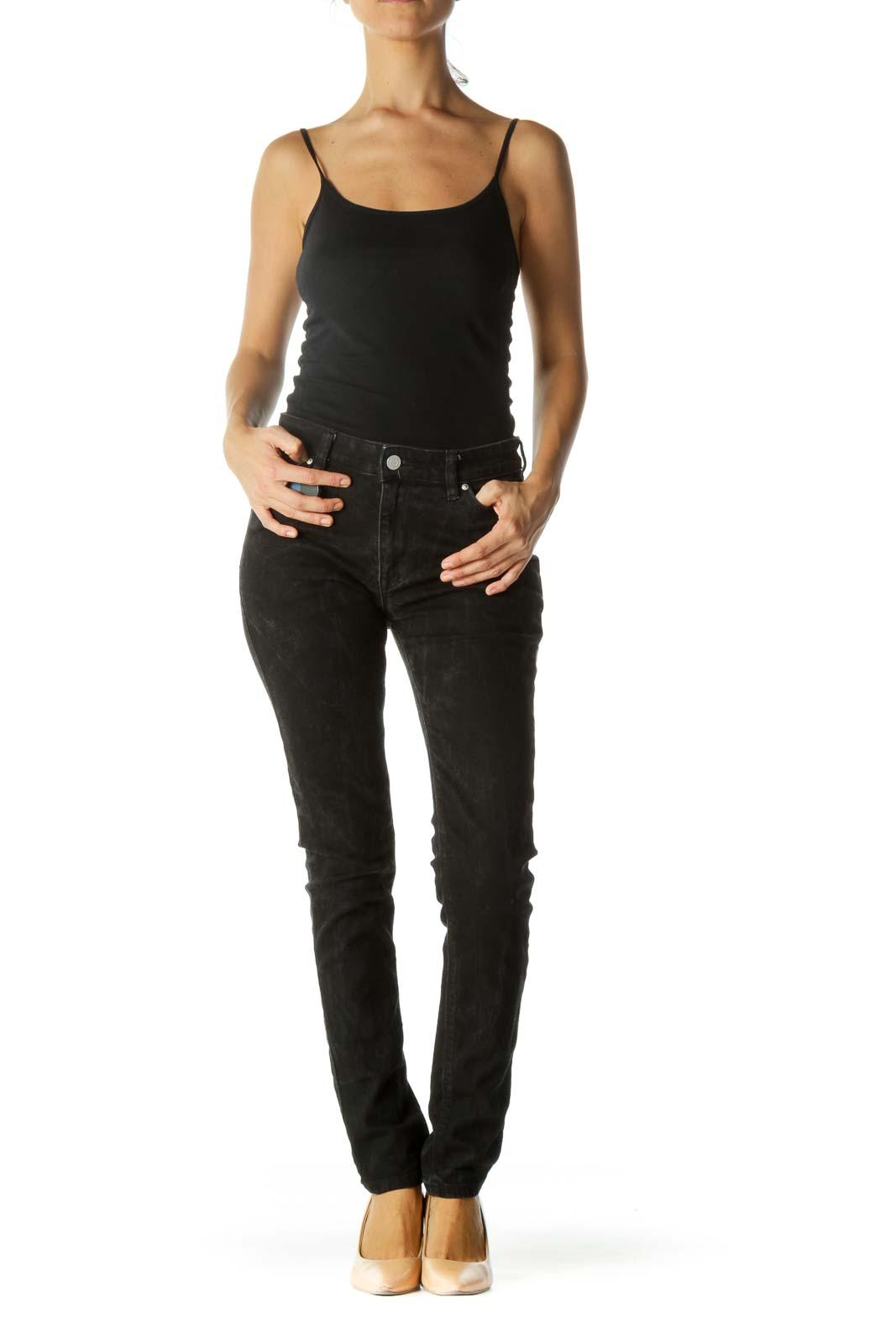 Faded Black Stretch Denim Pants