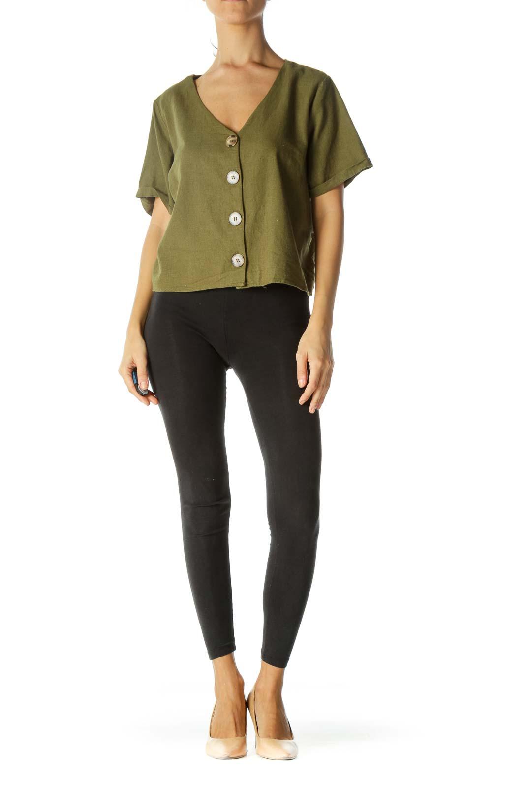 Green V-Neck Buttoned Linen Short-Sleeve Top