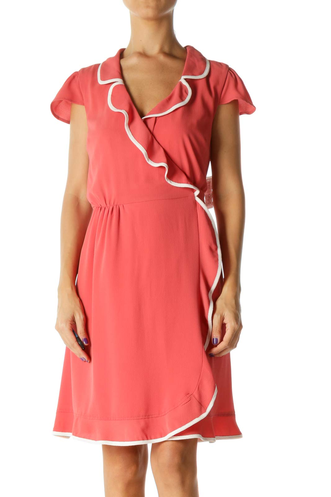 Coral Pink White Trim Detail Ruffle Cap Sleeves Day Dress