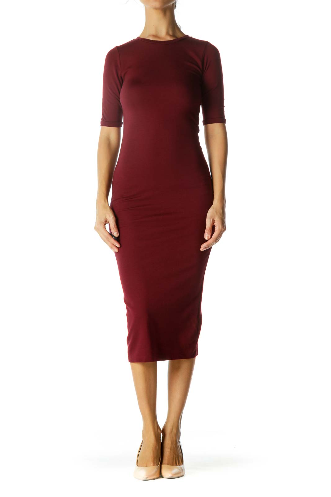 Burgundy Fitted Mid Dress