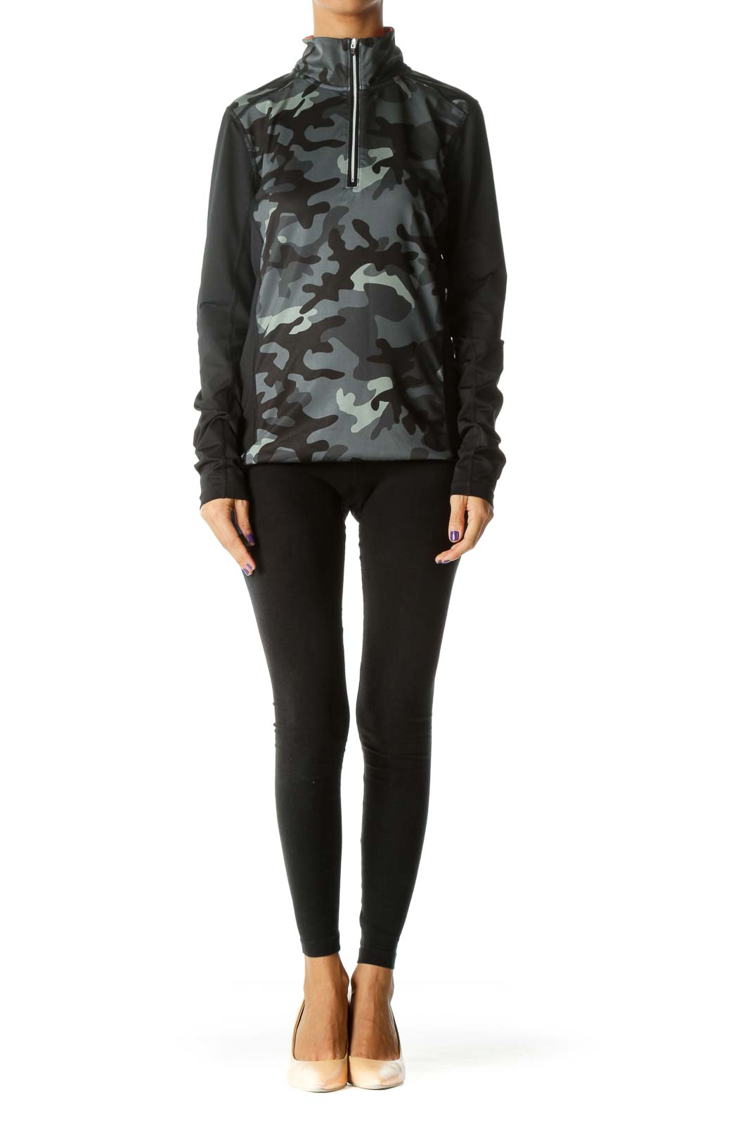 Black Camouflage Half Zip Sports Jacket