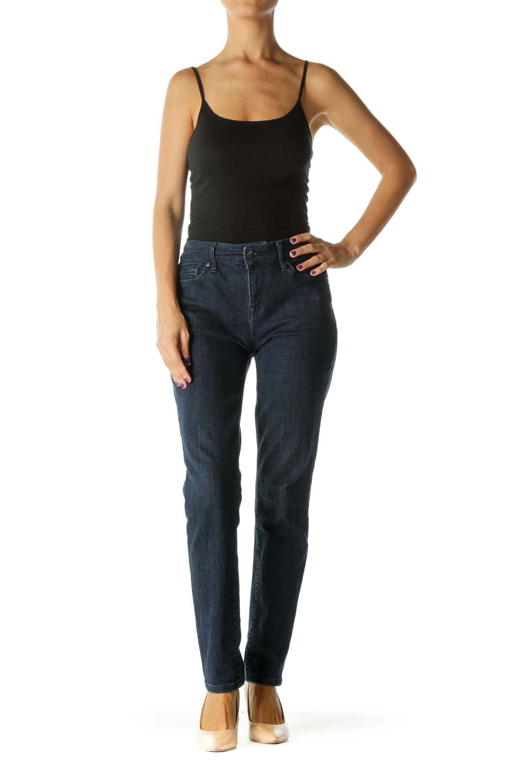 Blue Dark Wash Mid Rise Skinny Stretch Denim Jeans