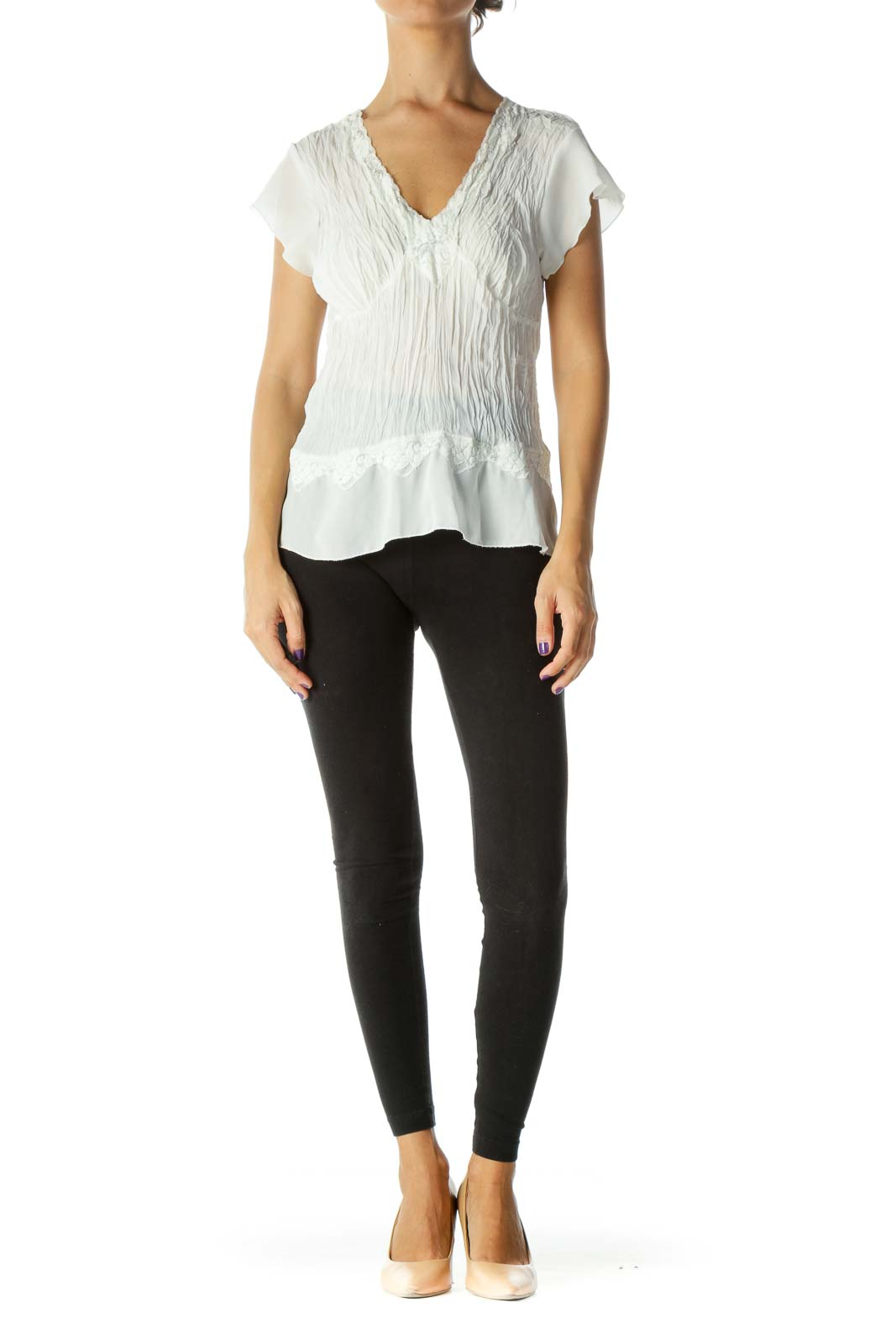White Ruched Sheer Top