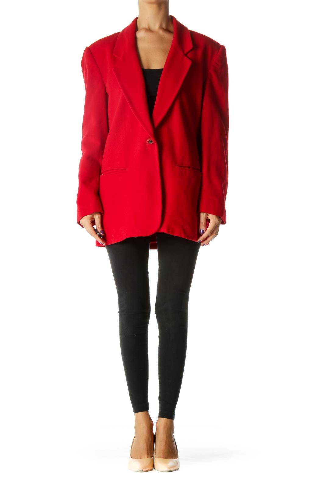 Red Wool Blend Padded Shoulders Pocketed Jacket