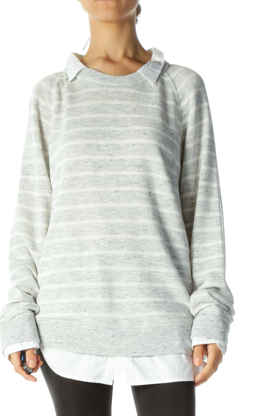 Gray & Cream Striped Mixed-Media Collared & Cuffed Sweater
