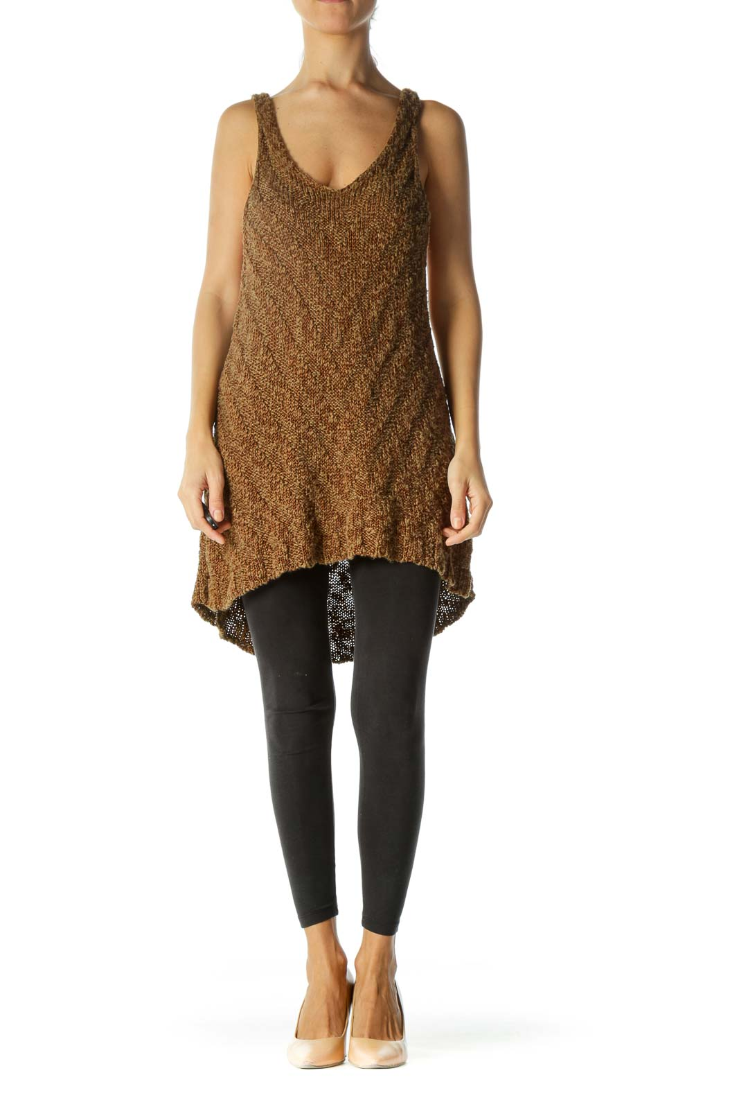 Brown V-Neck Soft Flared Knitted Top