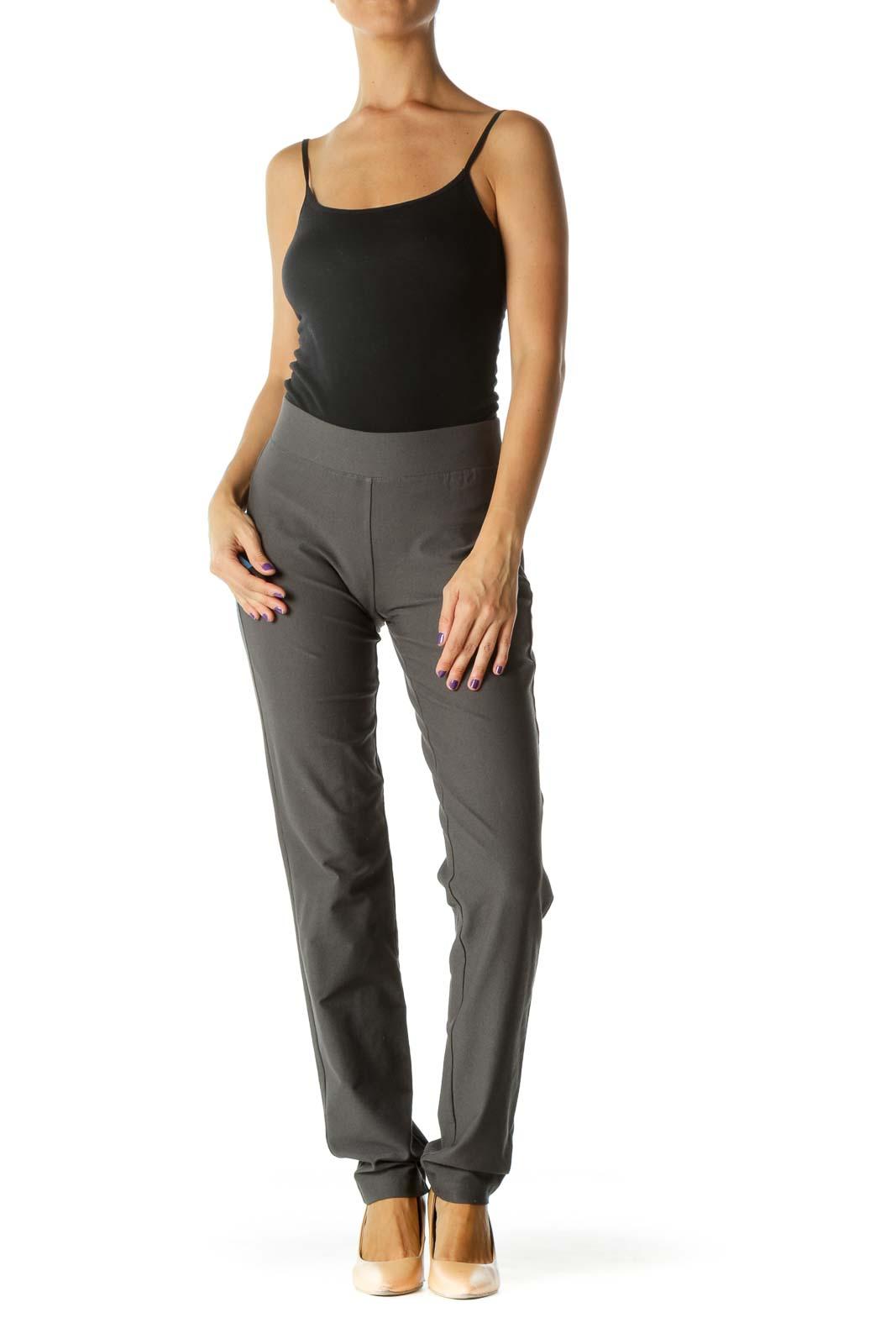 Gray Straight Leg Stretch Pant