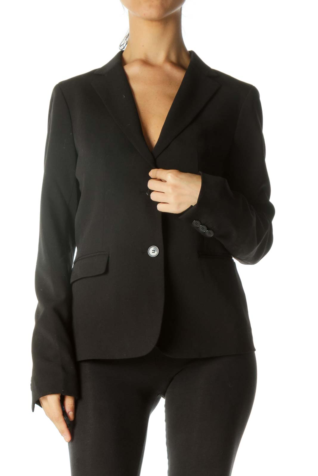 Black Button Pocketed Blazer