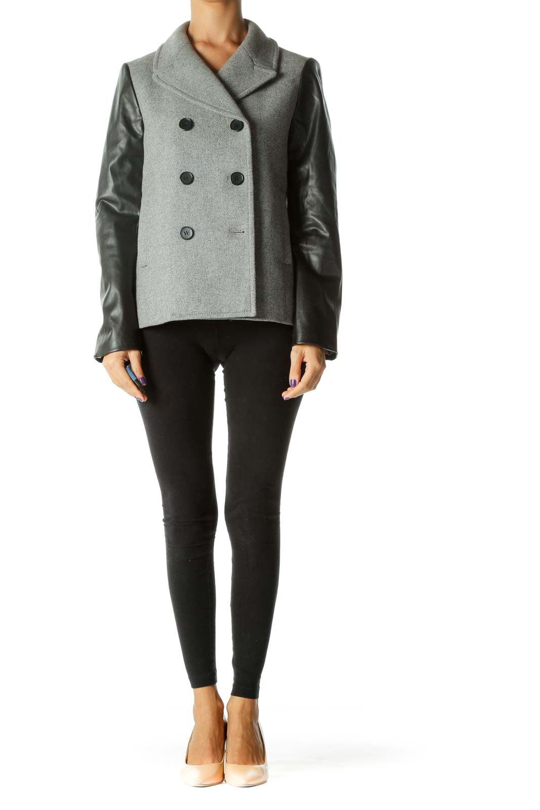 Gray Double Breasted Coat with Faux-Leather Sleeves