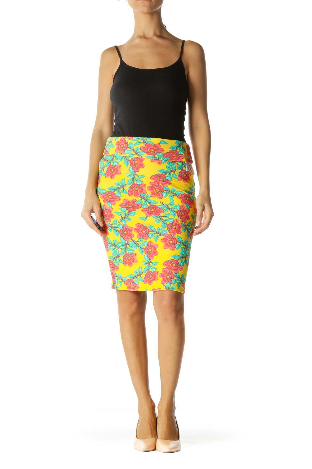 Yellow Green Red Floral Print Stretch Pull On Skirt