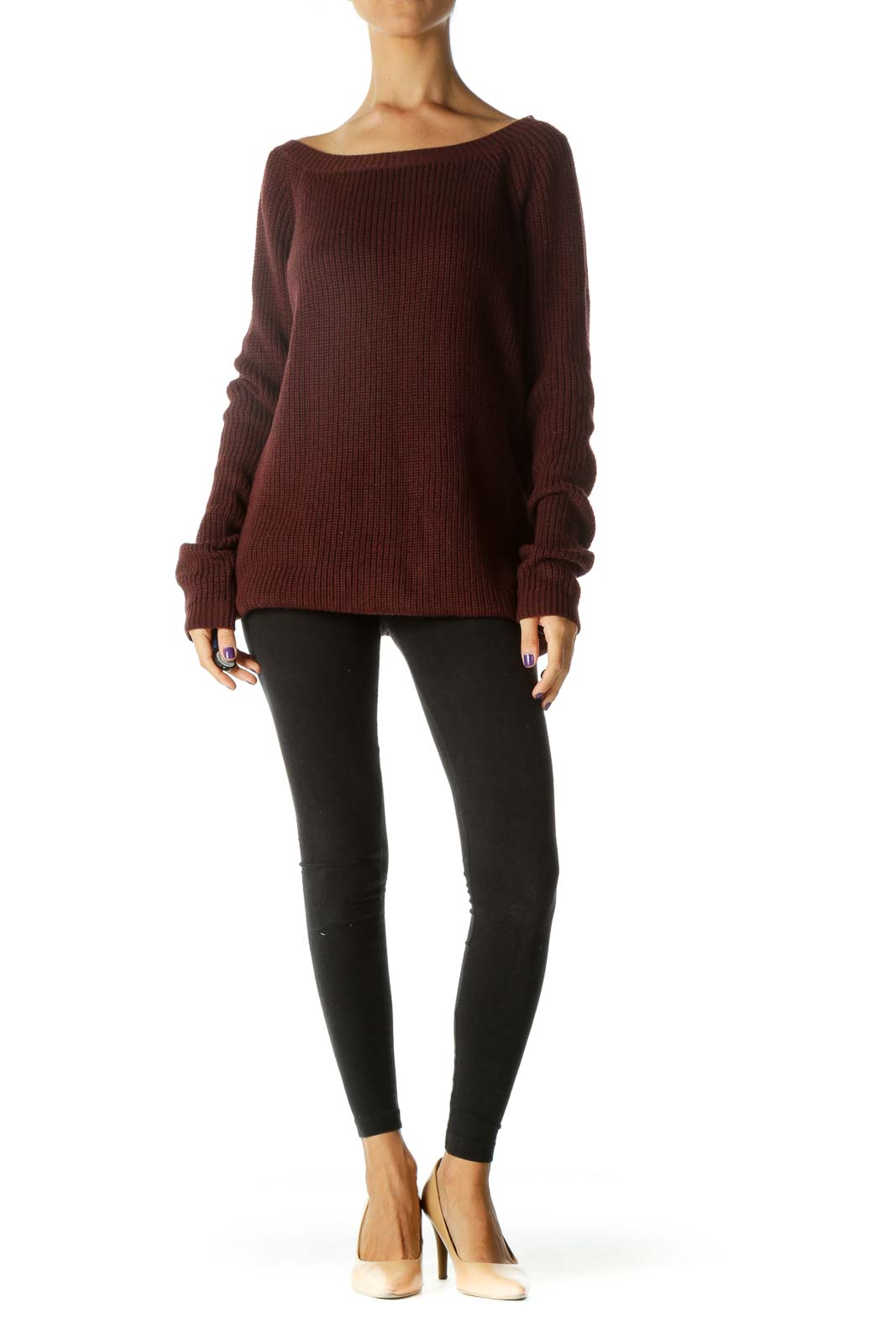 Burgundy Knitted Back V-Neck Stretch Sweater