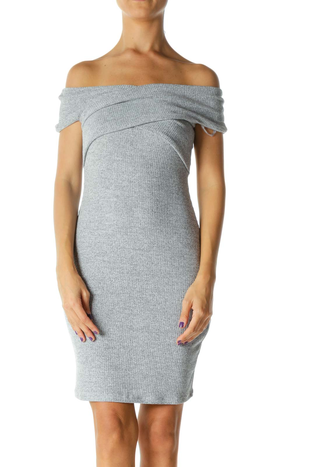Gray Knit Bodycon Dress