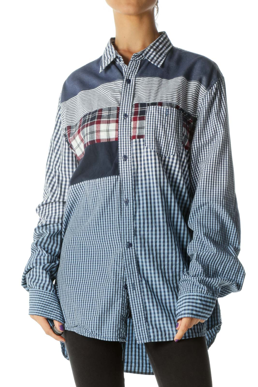 Blue White Red 100% Cotton Mixed Media Shirt
