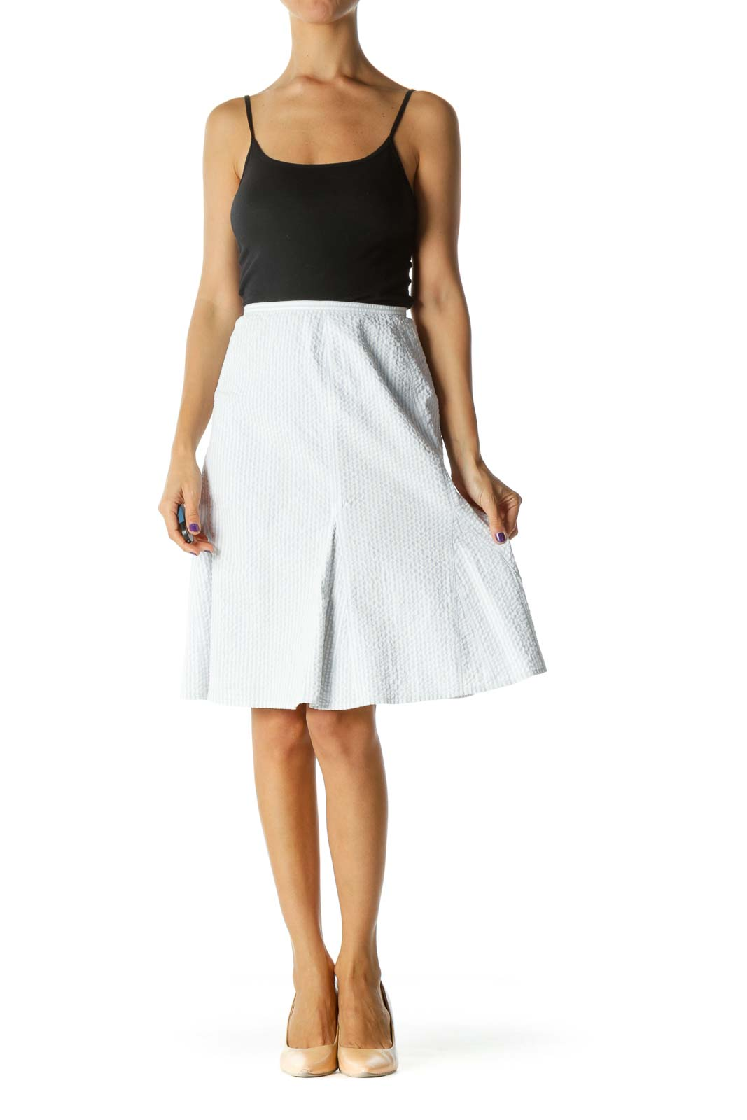 Blue White Striped Stretch Cinched Waist Flared Skirt
