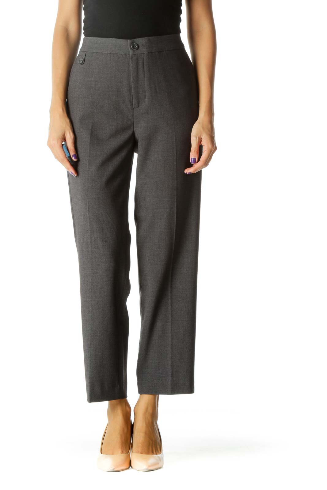 Gray Pocketed Thin Tapered Cropped Pants