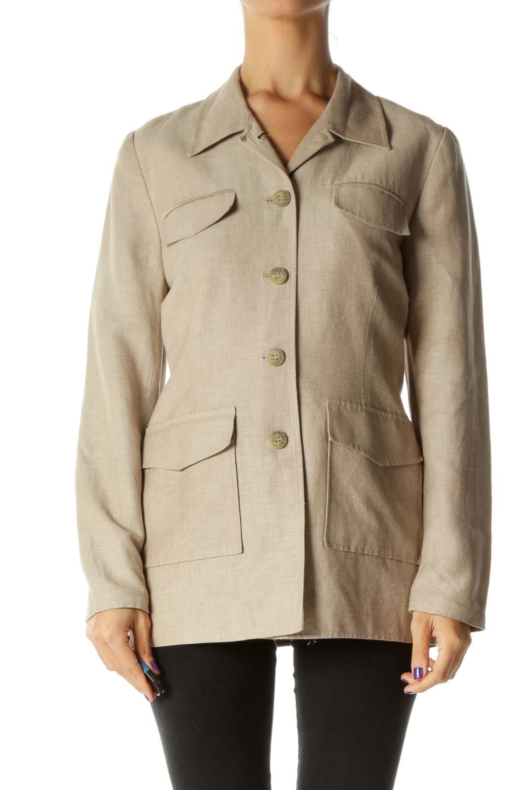 Beige Pocketed Buttoned Linen Padded Shoulders Jacket