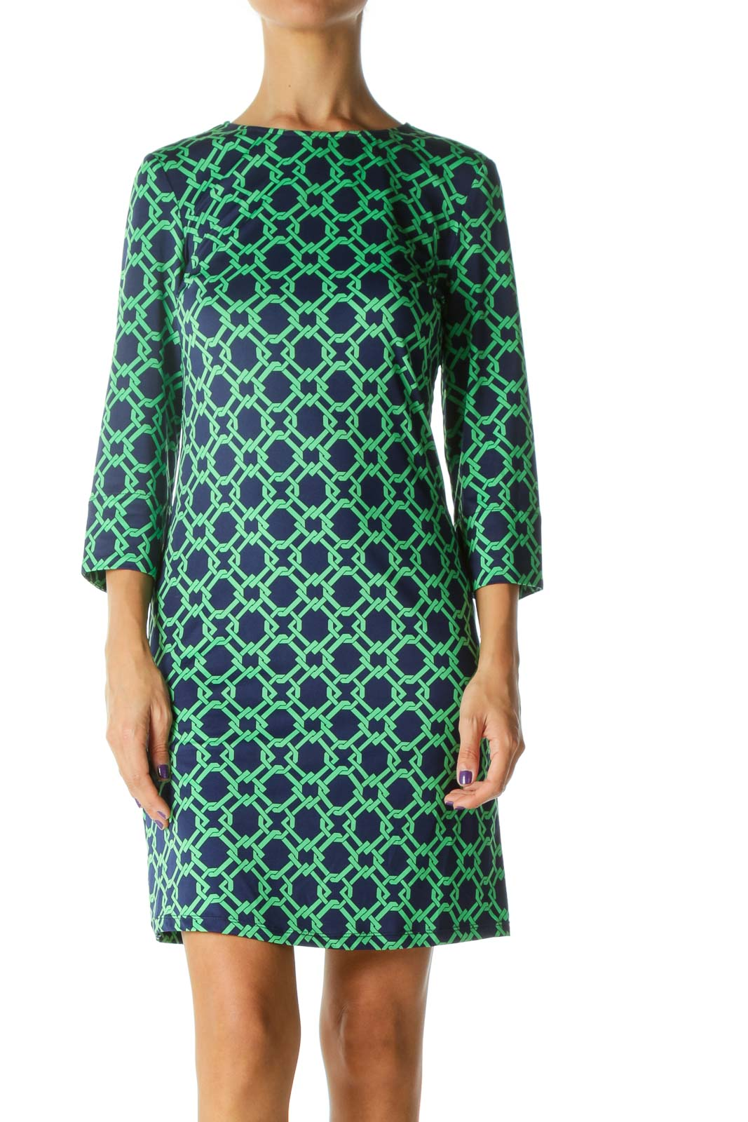 Blue Green Print 3/4 Sleeve Stretch Thin Day Dress