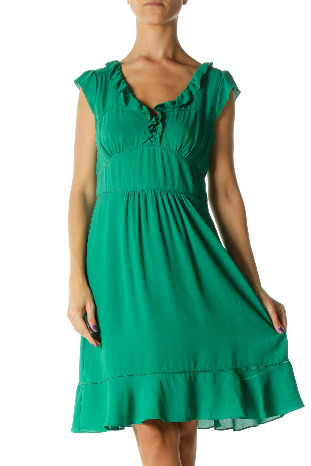 Green Ruffle Detail Lace Trim Fabric Buttons Day Dress