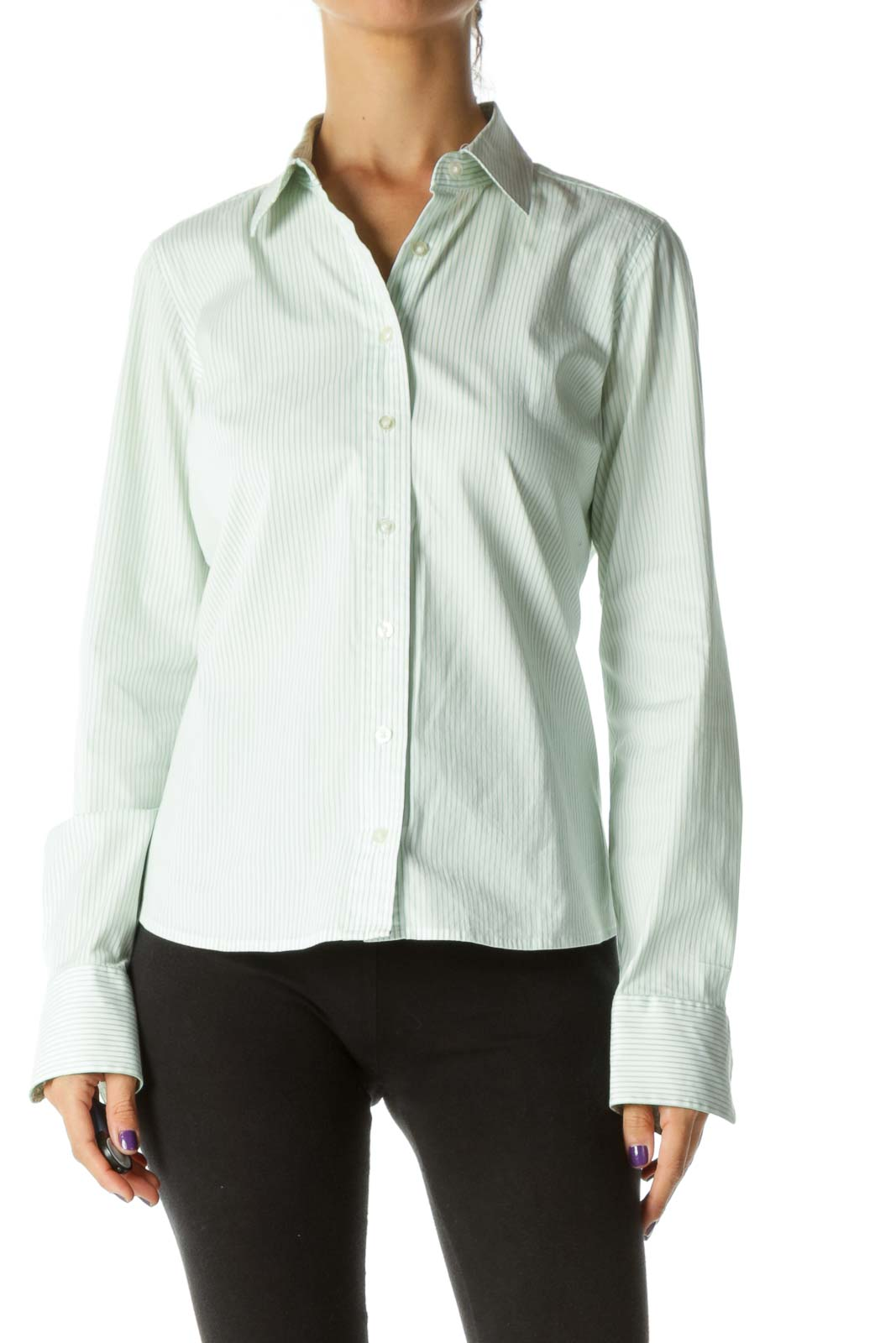 Green White Striped Buttoned Long Sleeve Stretch Shirt