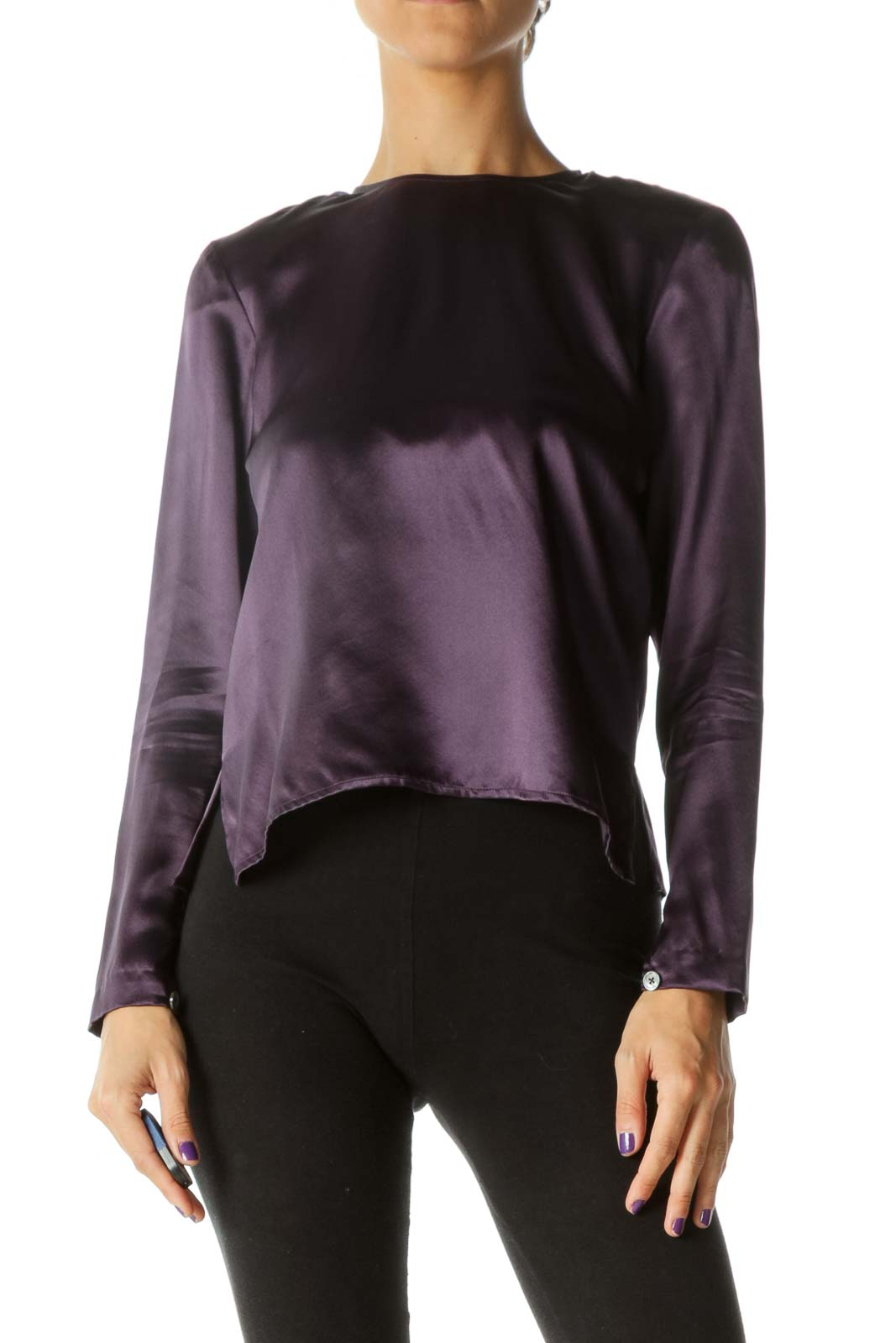Purple 100% Silk Back Buttons Soft Shiny Top (Shoulder Pads)