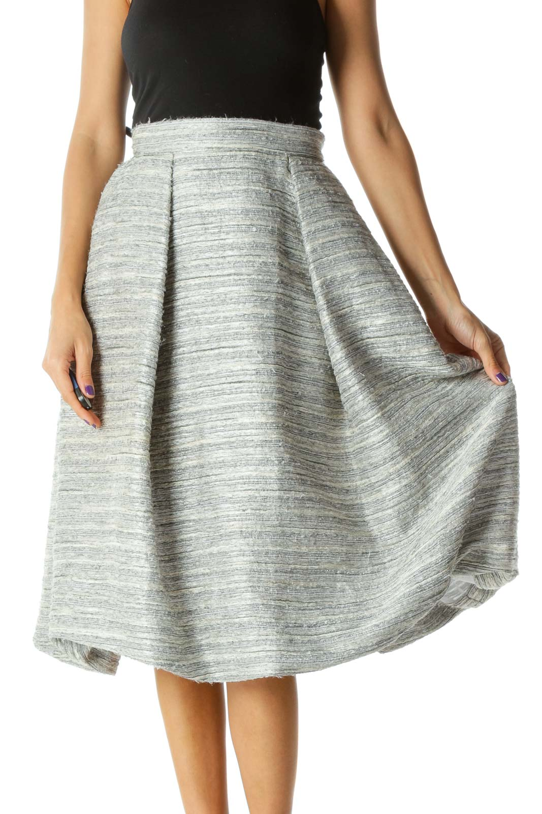 Gray Black Cream Knitted Textured Pouf Skirt