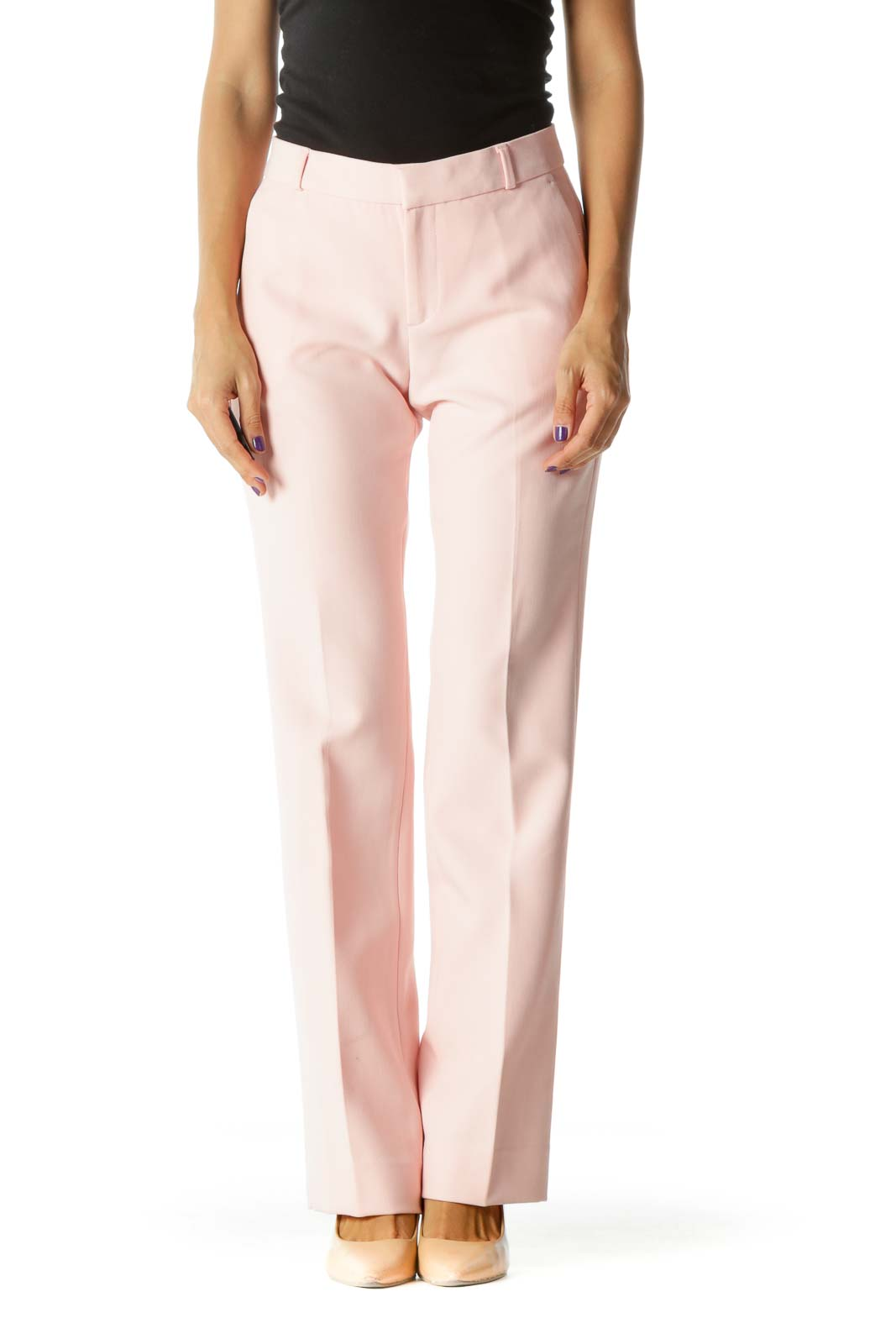 Pink Pocketed Draped Slightly Textured Pants (Short)
