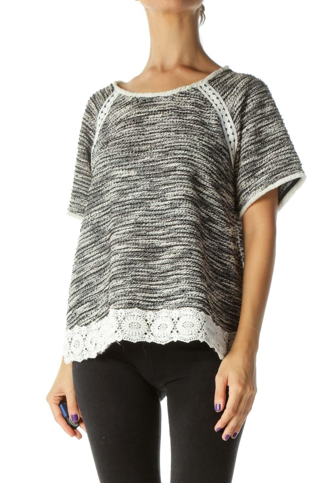 Black White Knit Mixed Media Short Sleeve Top