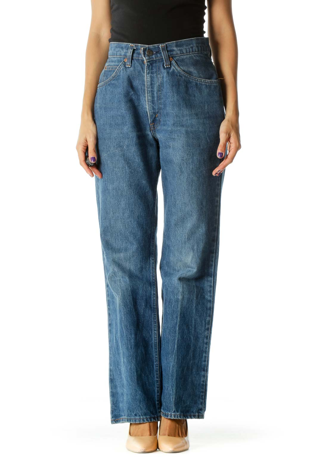 Blue Medium Wash 100% Cotton High-Rise Flared Denim Jeans