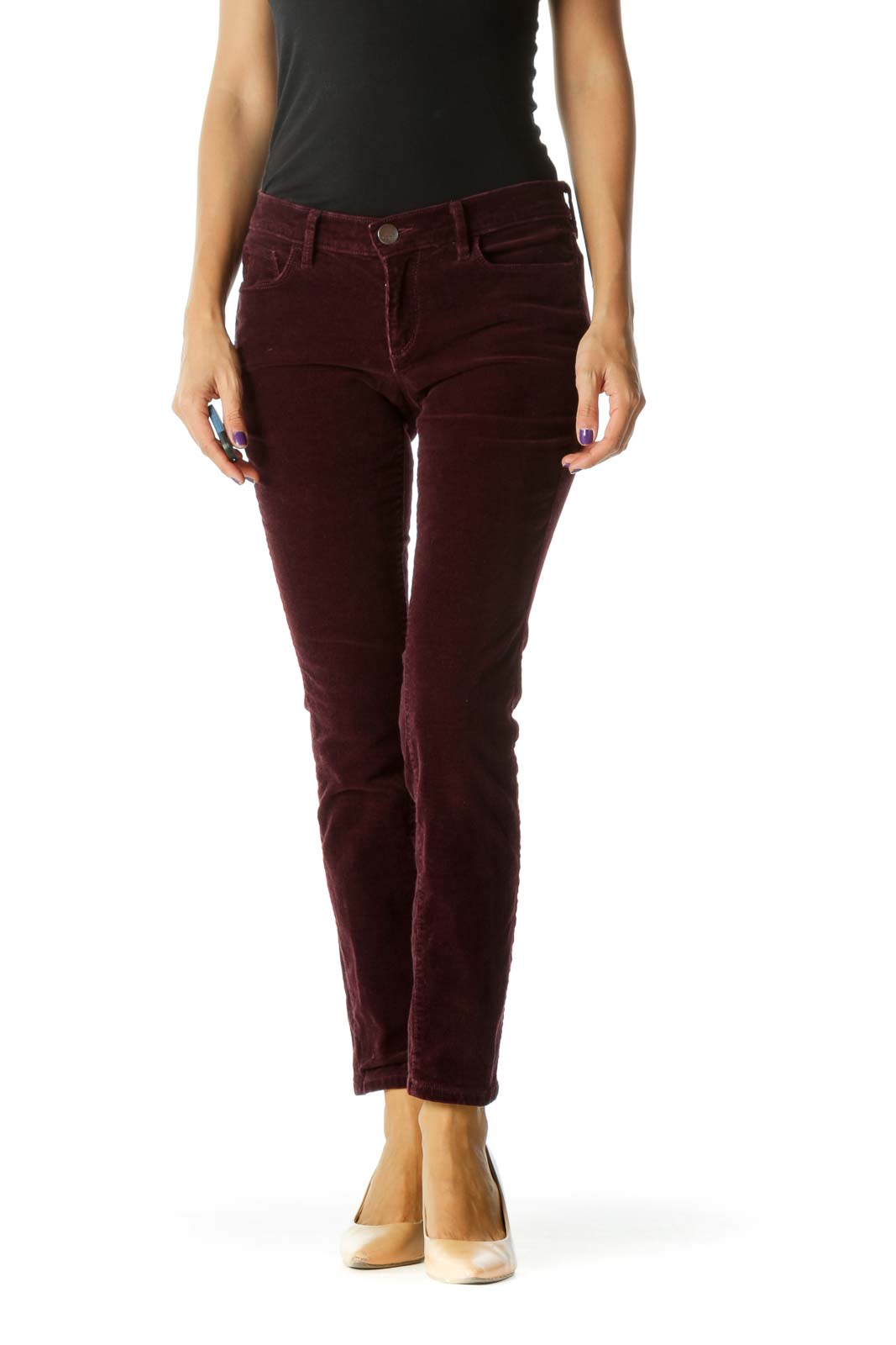 Purple Corduroy Skinny Stretch Pants (Ankle/Petite)