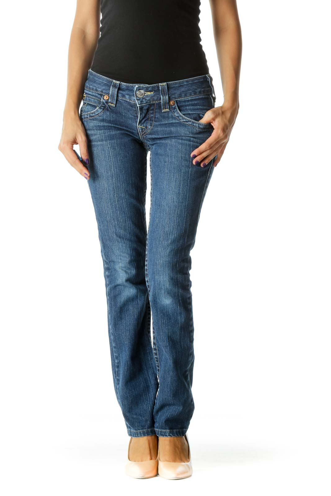 Blue Medium Wash Straight Leg Stretch Denim Jeans