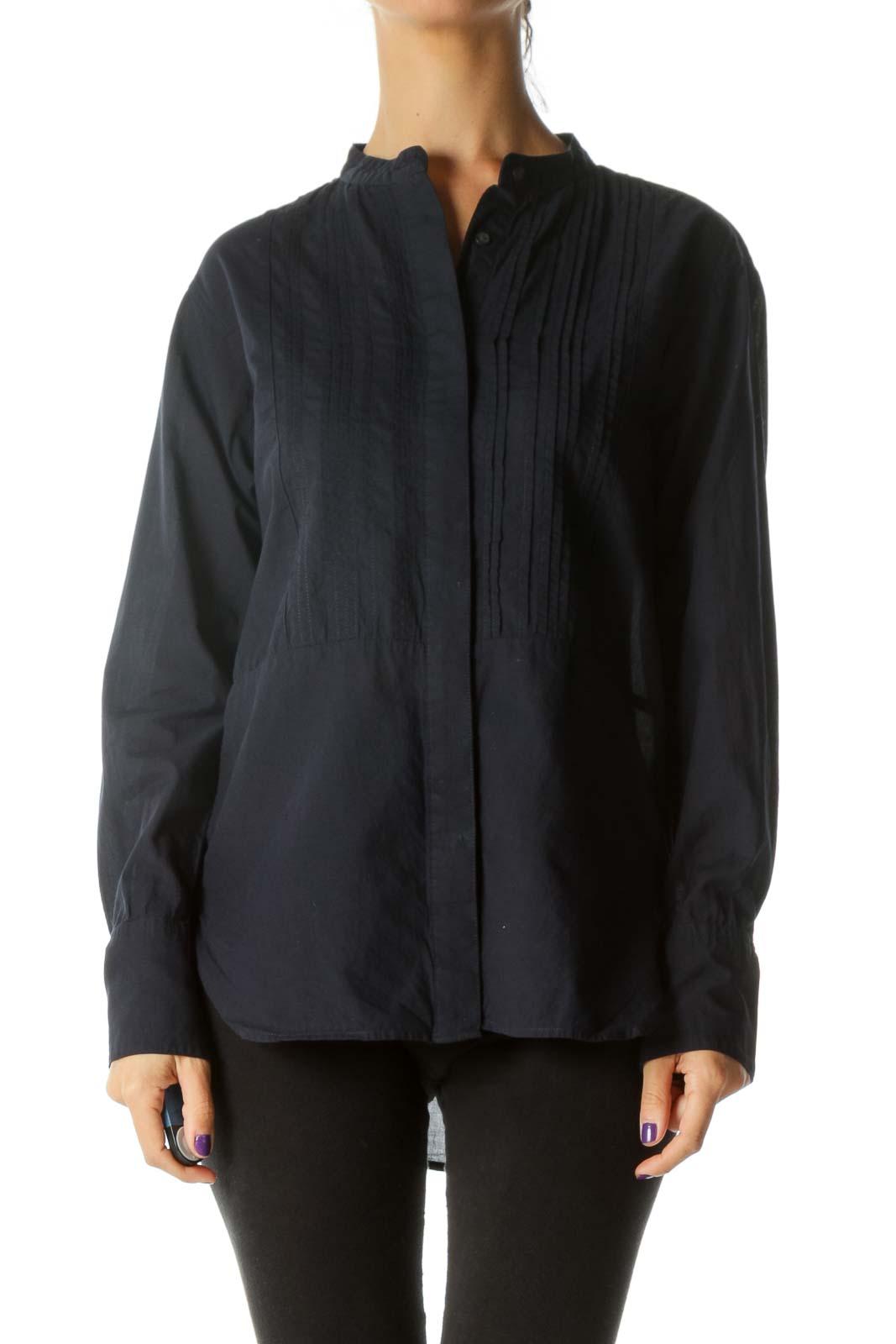 Navy Blue 100% Cotton Pleated Round Neck Shirt