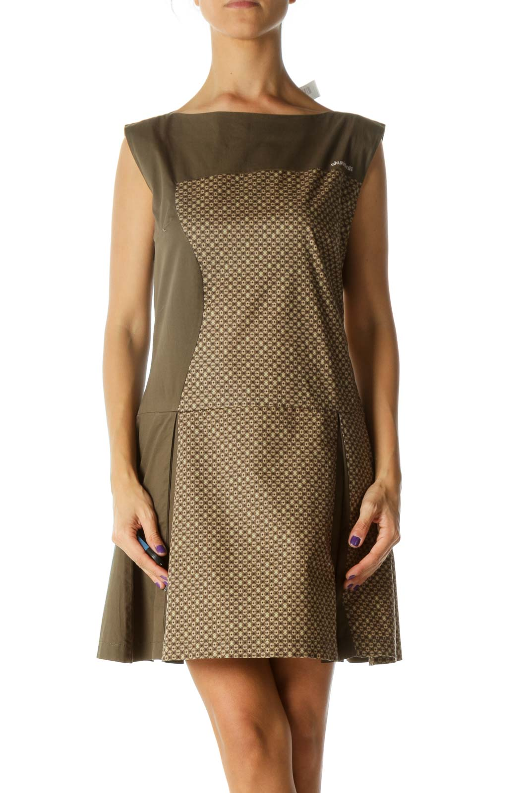 Green Brown Blue Print Pleated Boat Neck Dress