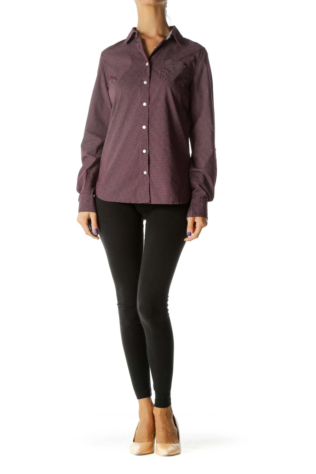 Burgundy White 100% Cotton Dotted Long Sleeve Shirt