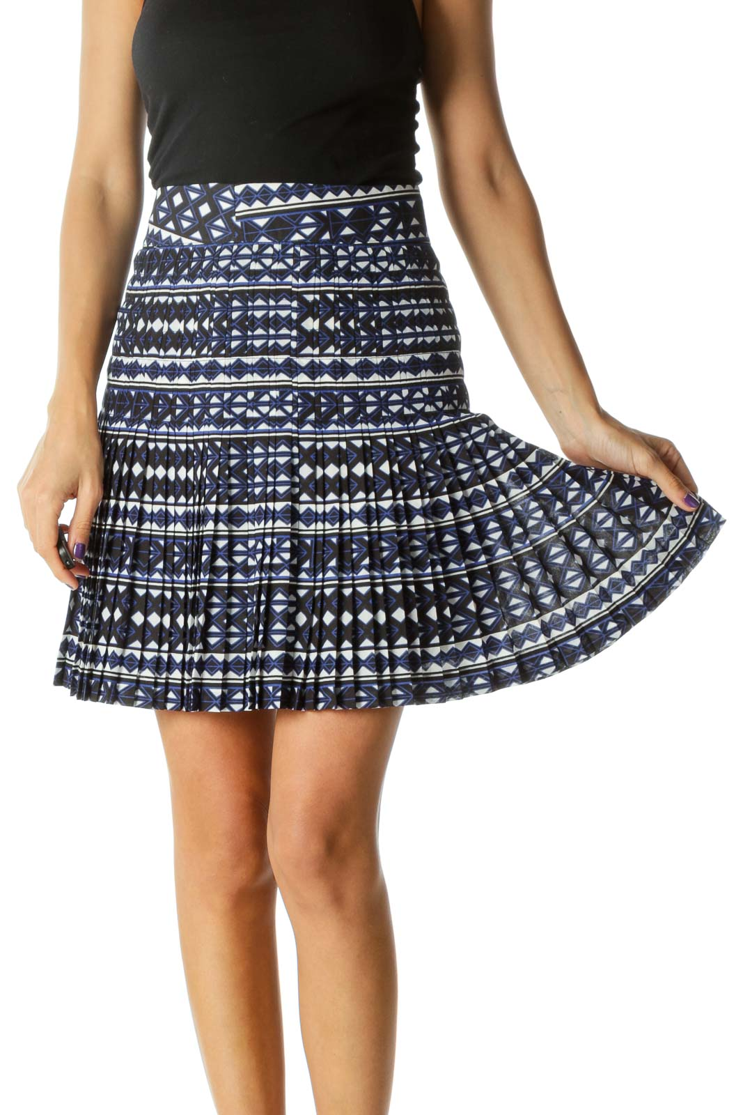 Blue White Blue Pleating Print Cinched Waist Skirt