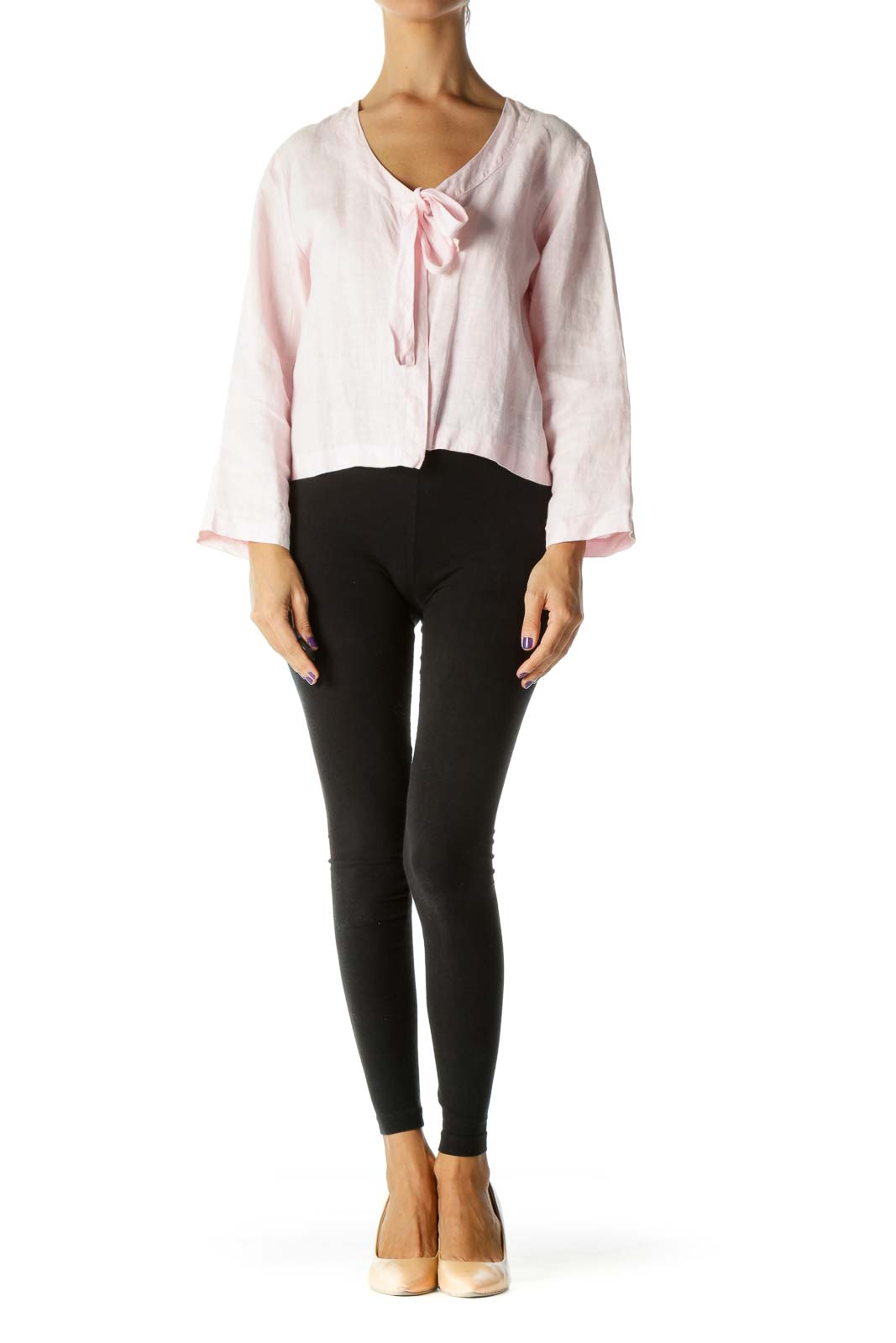 Pink Round Neck Front Knot Long Sleeve Light Jacket