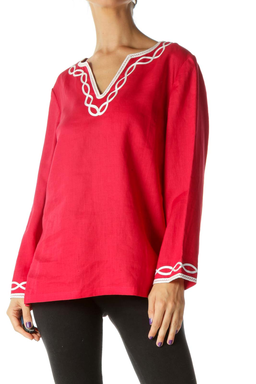 Red White Trim Detail 100% Linen V-Neck Long Sleeve Tunic Top