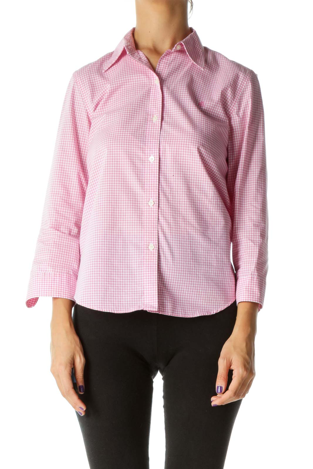 Pink White Small Gingham 100% Cotton Buttoned Shirt