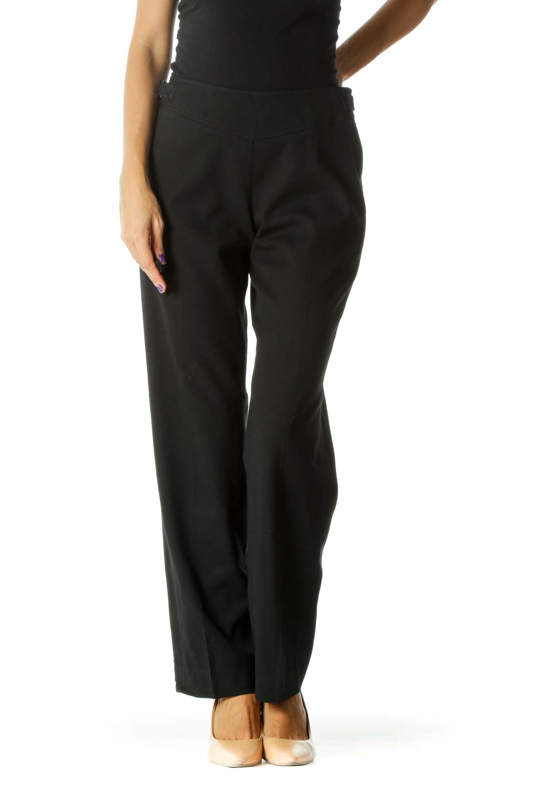 Black Wool Blend Belt Fastener Detail Stretch Zippered Pants