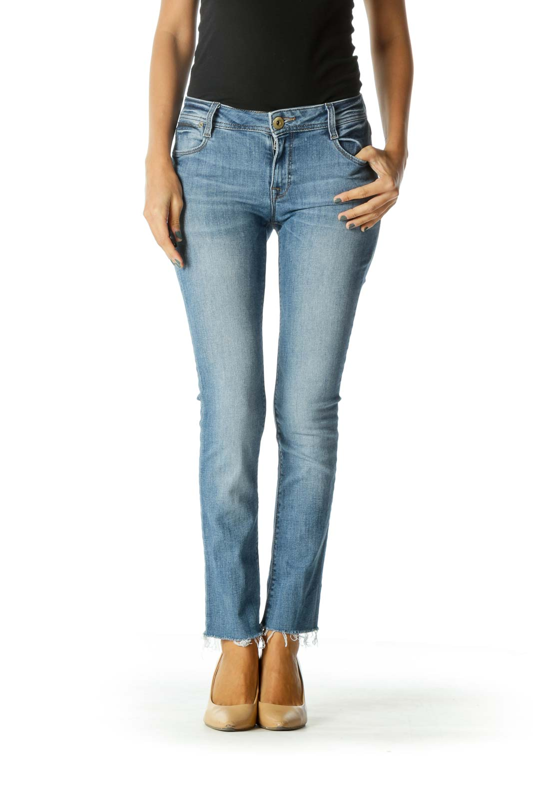 Blue Light Wash Stretch High Rise Raw Hem Denim Jeans