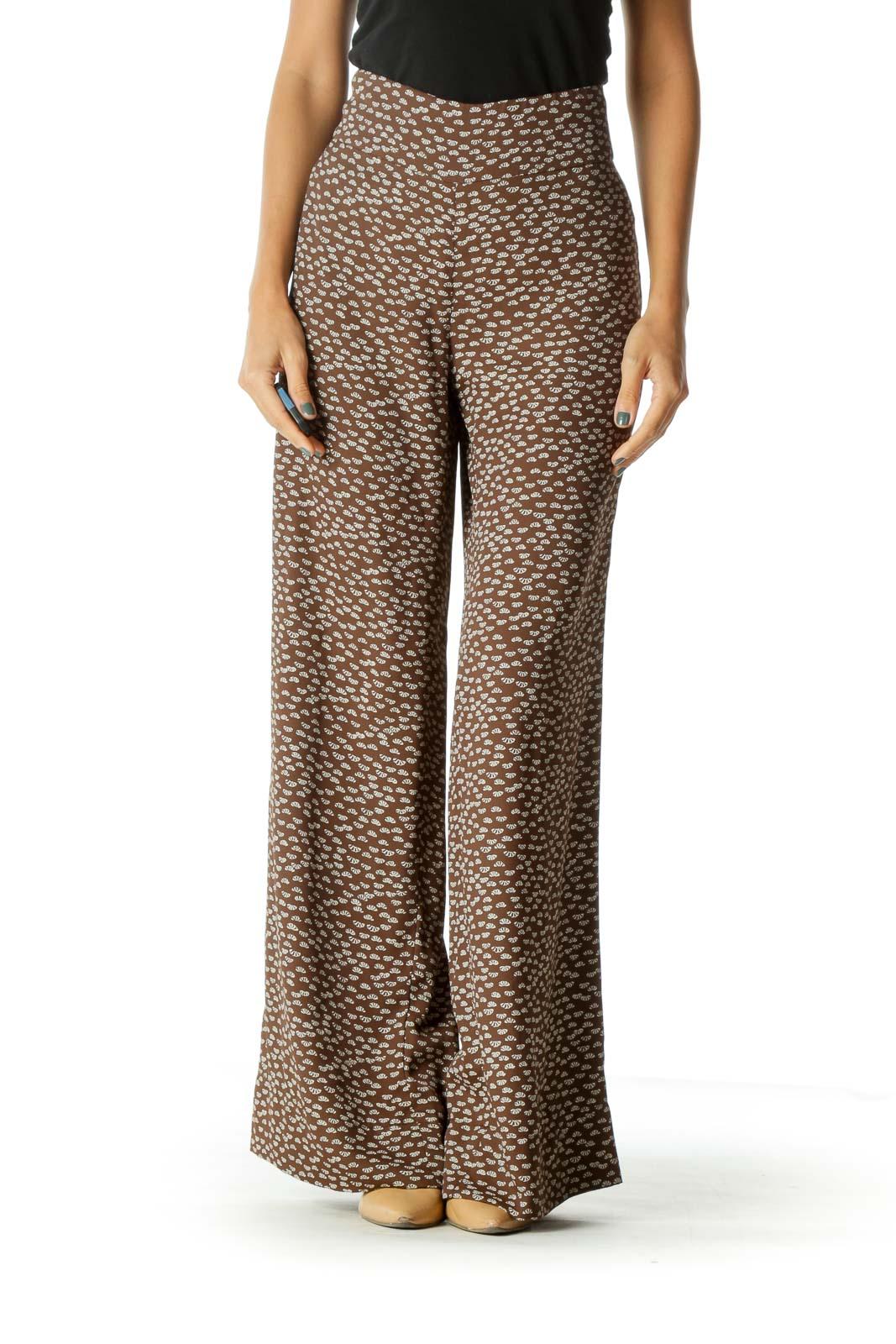 Beige Brown Printed Wide-Leg Lightweight Pants