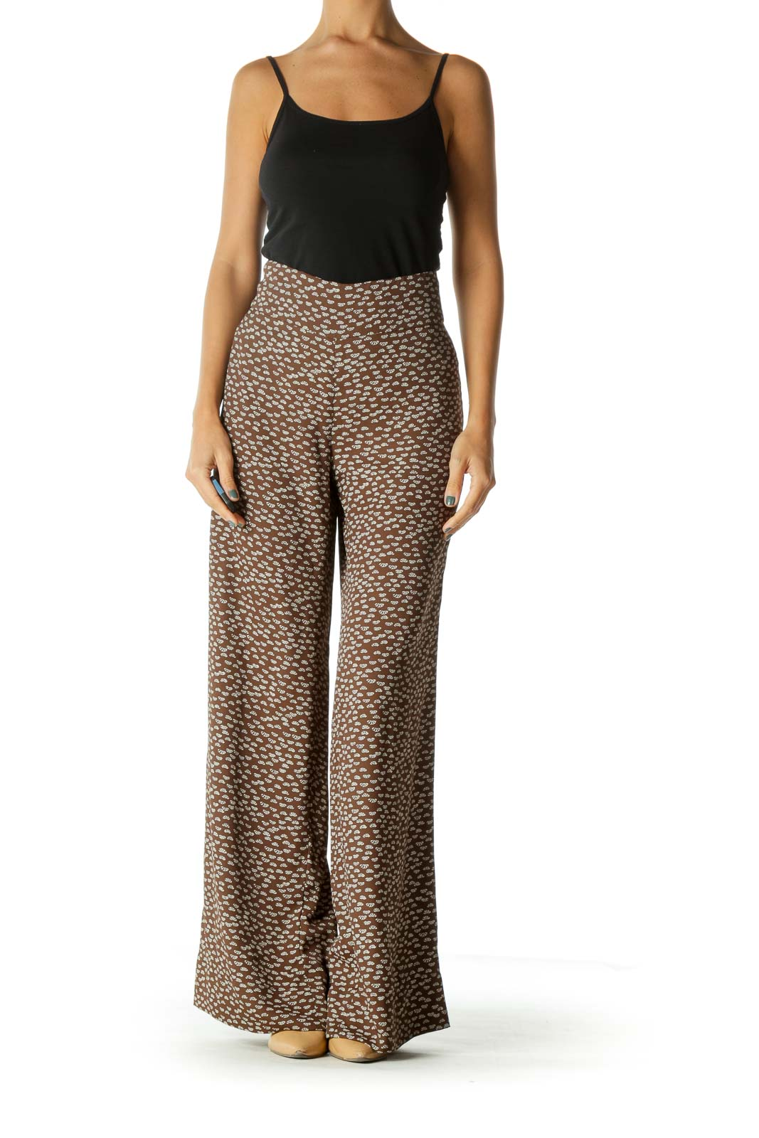 Beige Brown Printed Wide-Leg Lightweight Pants