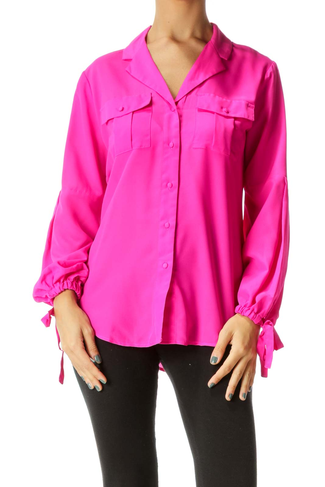 Hot Pink V-Neck Sleeve Bow Details Shirt