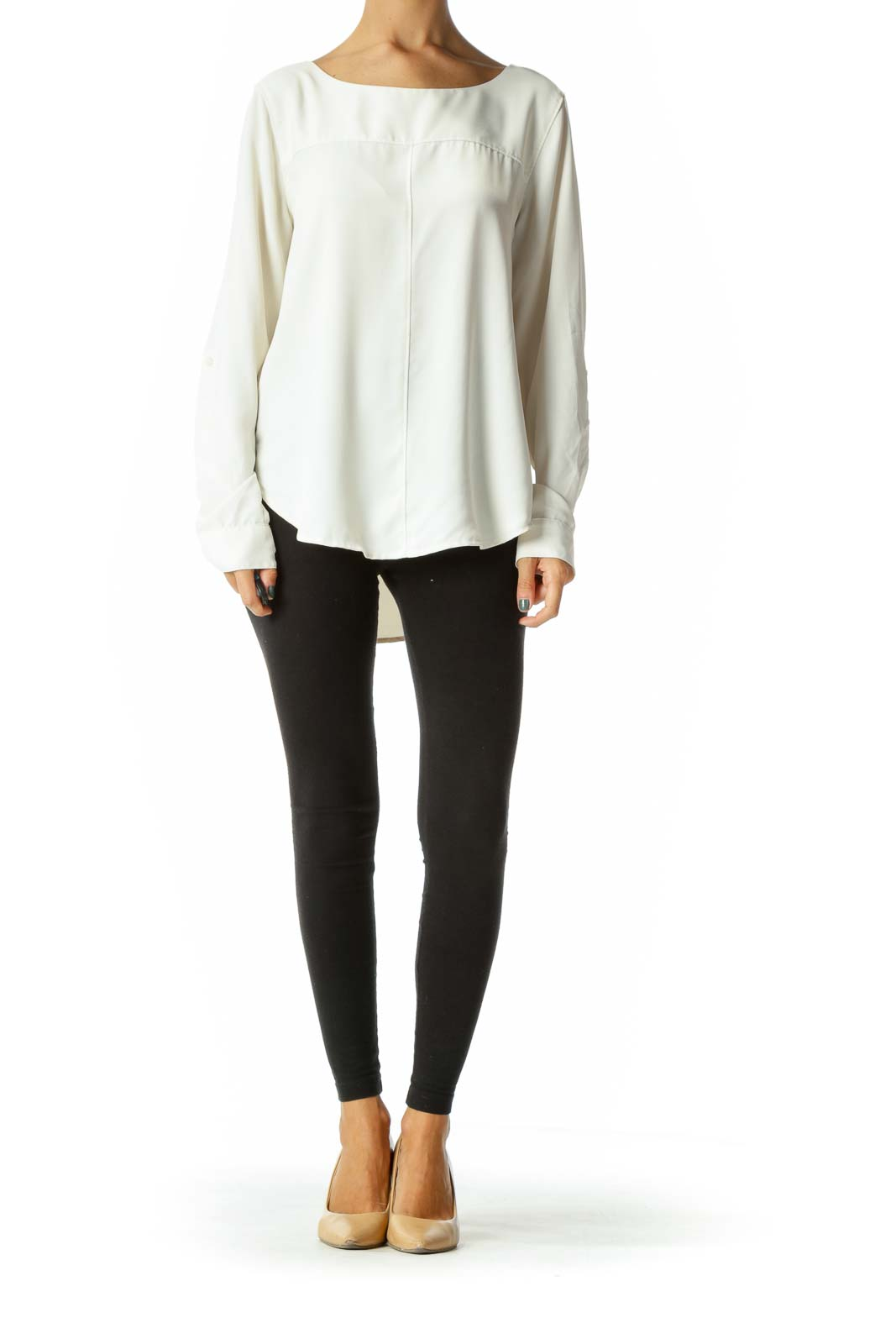 Cream Round Neck Long Sleeve Blouse