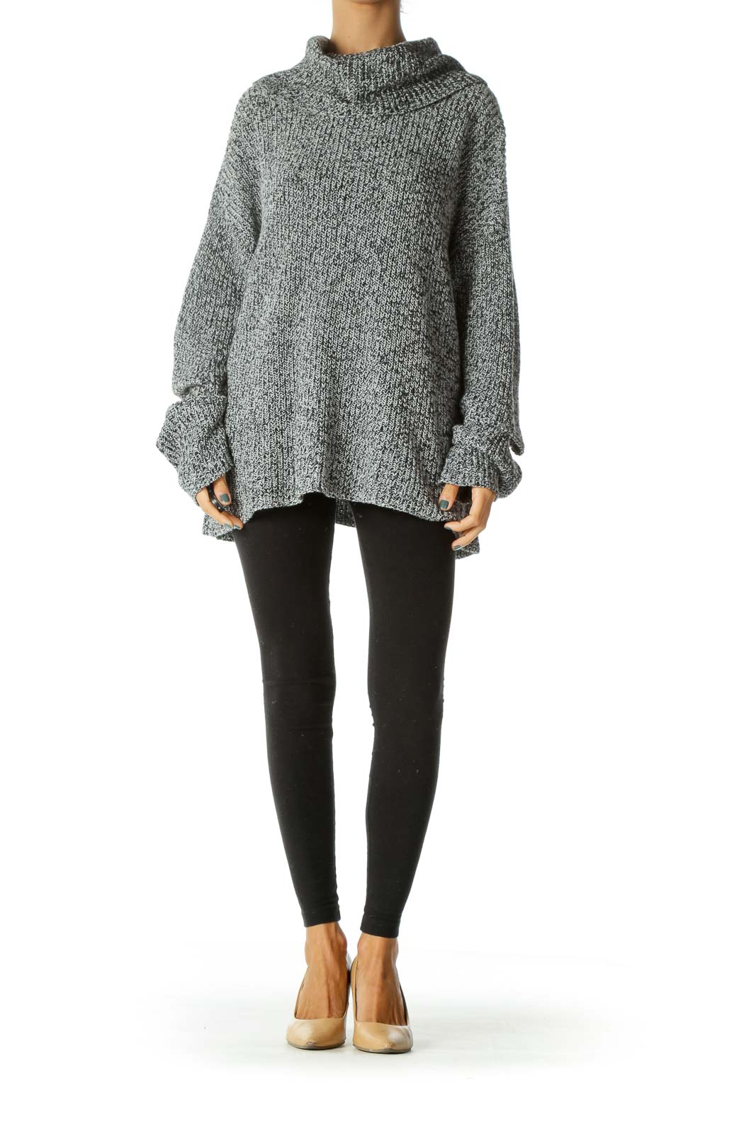 Black White Knit Turtle Neck Long Sleeve Arm Cut Out Sweater