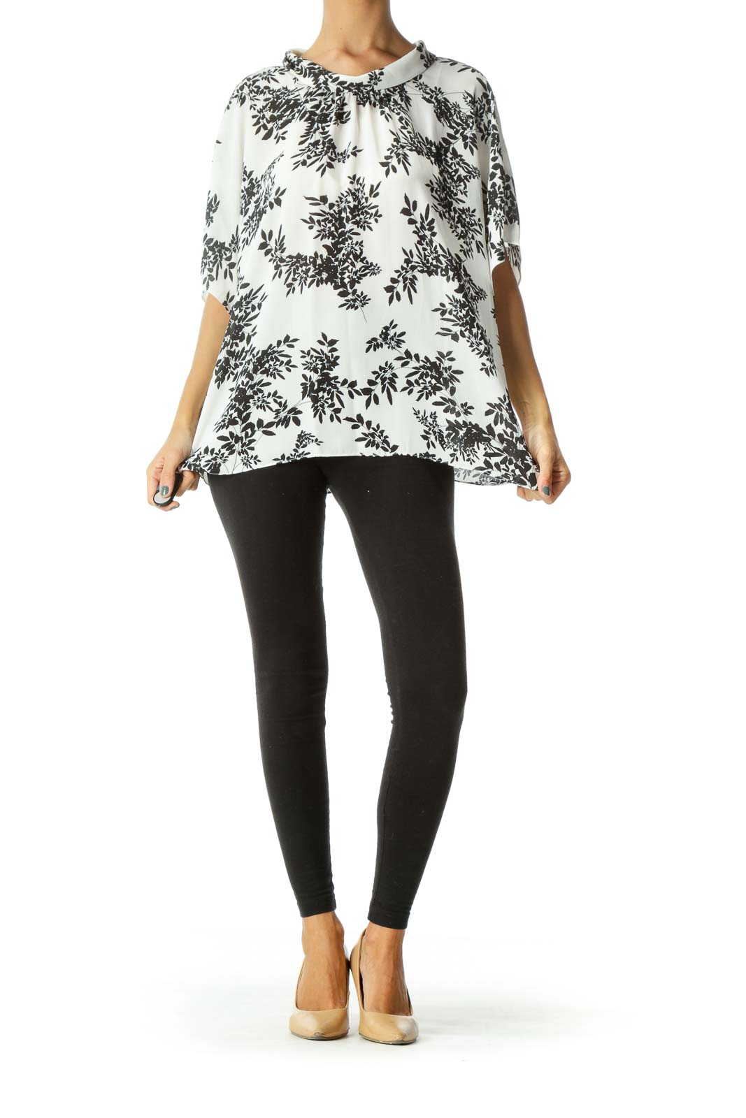 Off-White Black Leaves Print Flared Sleeves Blouse