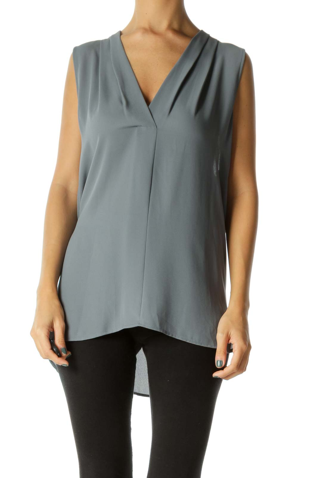Gray V-Neck Pleated Tank Top