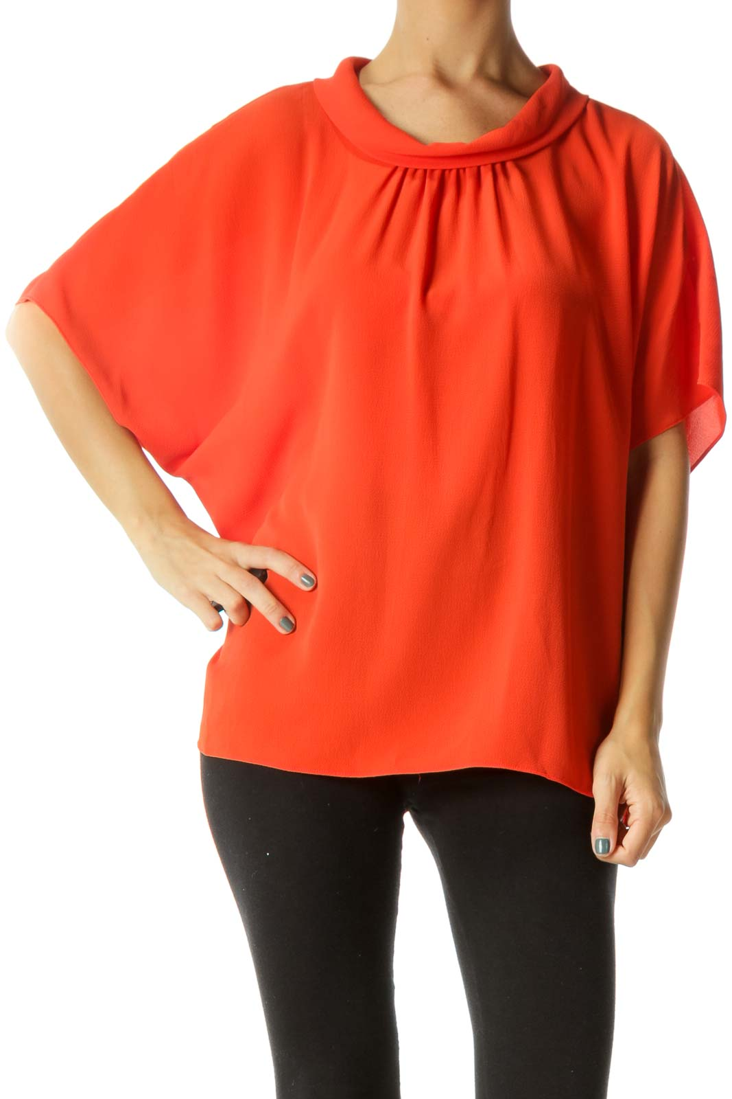 Orange Gold Buttons Short Sleeve Flared Blouse