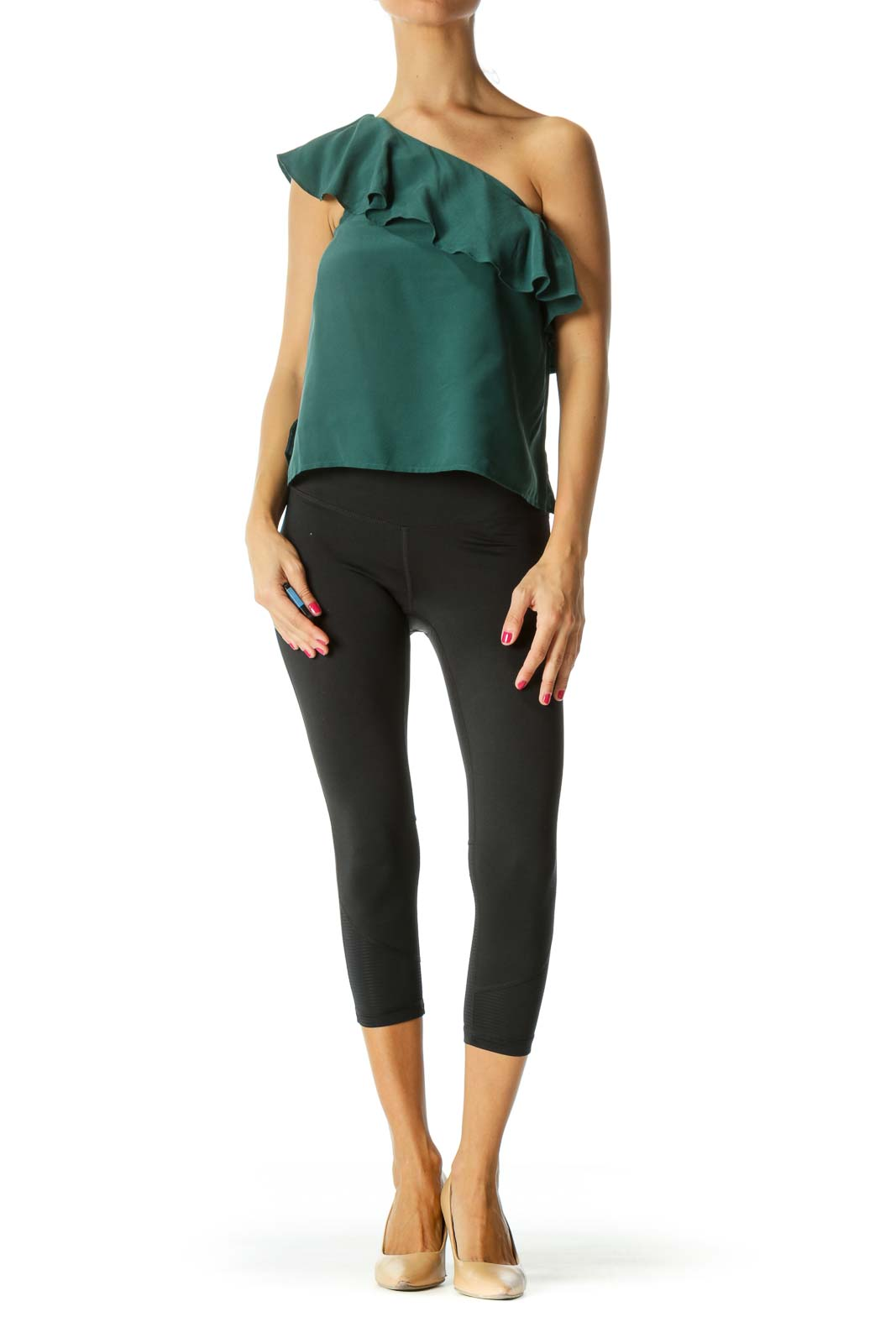 Green Silk Ruffle One-Shoulder Top