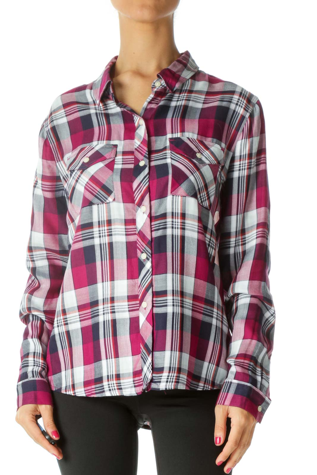 Blue Purple Red Plaid Buttoned Knit Shirt