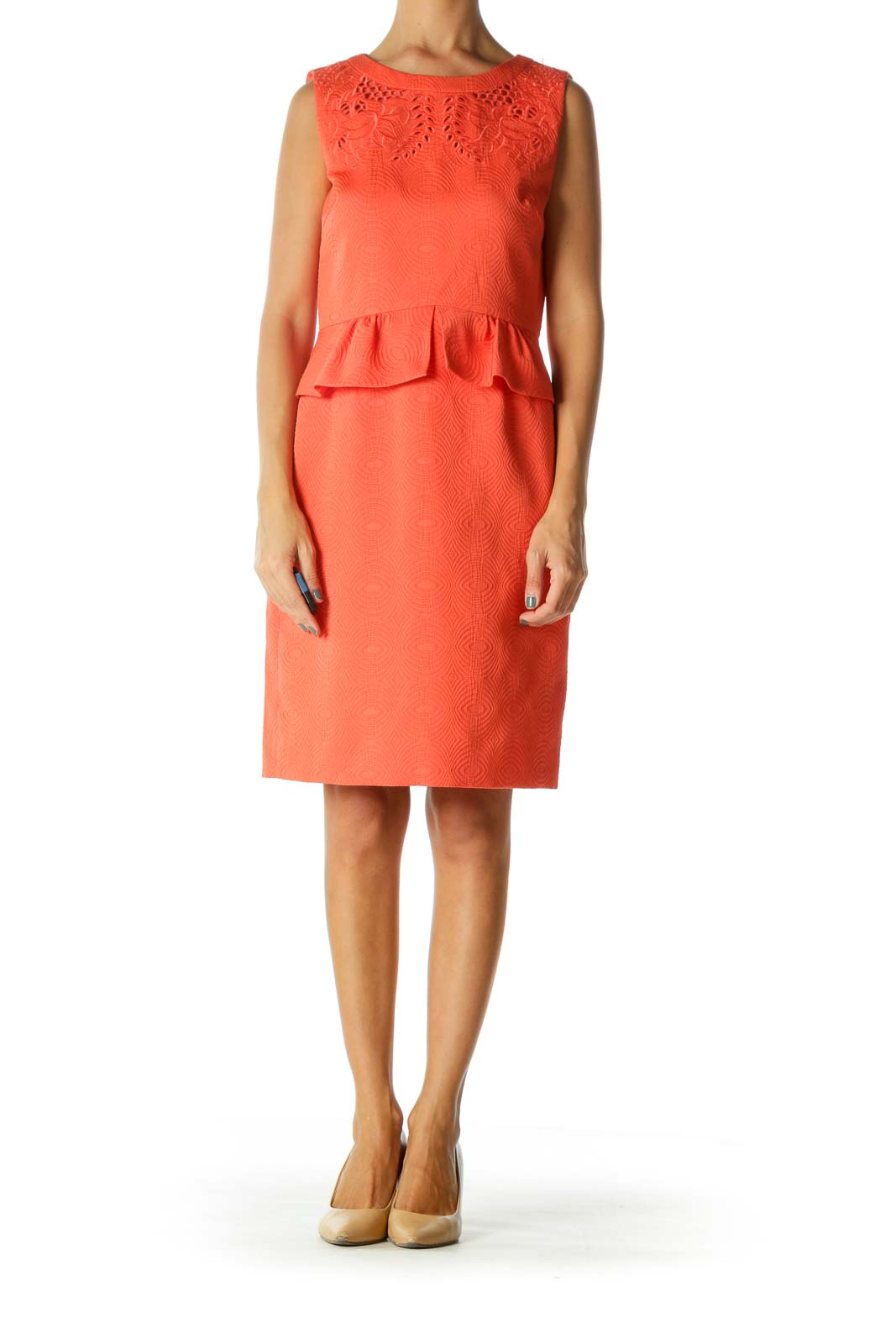 Orange Eyelet Textured Pattern A-Line Knit Dress